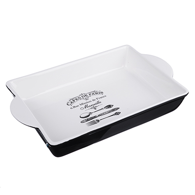 824-343 MILLIMI Кафе де Пари Форма д/запекания и салатов прямоуг. с ручк., 1500мл, 32х19,5х5см, керамика