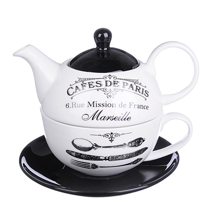 """824-345 MILLIMI Кафе де Пари Набор чайный """"Эгоист"""", чайник 380мл, чашка 320мл, блюдце 15см, керамика"""