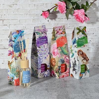 412-036 LADECOR Ароманабор 50мл с 6 палочками,4 аромата (весенние лепестки, роза, лаванда, ваниль)