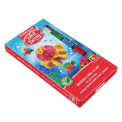239-034 Erich Krause Пластилин, 6 цветов, 108г, стек, с доб.алоэ вера, 41760