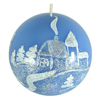 """396-530 Свеча парафиновая """"Зимовье"""", шарик синяя с ручной росписью, 7см, 2 дизайна"""