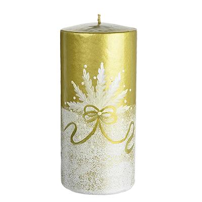 """396-537 Свеча парафиновая """"Ибис золотой"""", цилиндрическая золотая с ручной росписью, 15см"""