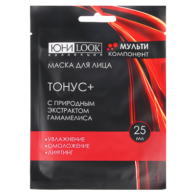 "330-357 ЮниLook Маска для лица ""Тонус +"" с гамамелисом, 25мл"