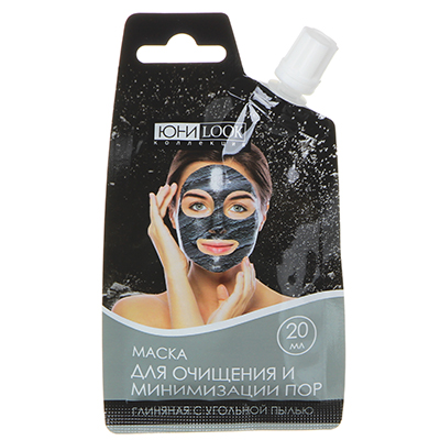 330-362 Маска для лица ЮниLook, глиняная с угольной пылью, 20 мл
