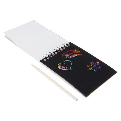 540-005 ClipStudio Блокнот со скретч - слоем, 14х10см, 8л., радужная подложка, спираль, стилус, инд. пакет