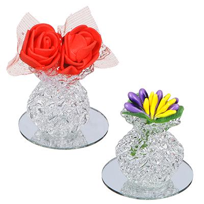 509-815 Фигурка в виде вазочки с цветами, 7,5х6,5 см, стекло, неопрен, 2 вида