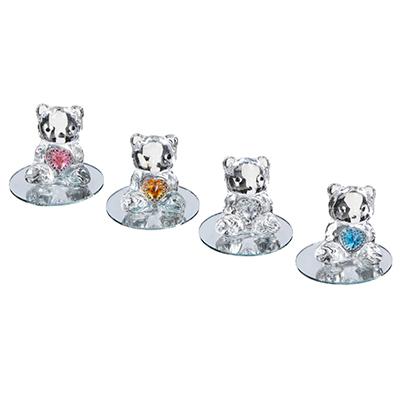 509-816 Фигурка в виде мишки с сердечком, 7,5х6,5 см, стекло, 4 цвета
