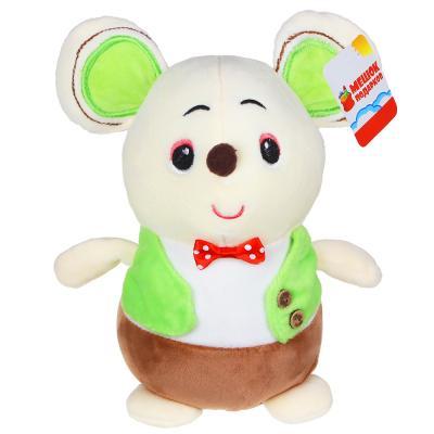 264-224 МЕШОК ПОДАРКОВ Игрушка мягкая в виде мышонка в жилете, 20-25см, плюш, 2-3 цвета