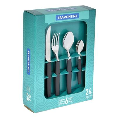 871-514 Tramontina Munique Набор столовых приборов 24пр, черная ручка, 23299/072