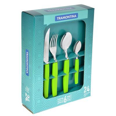 871-515 Tramontina Munique Набор столовых приборов 24пр, зеленая ручка, 23299/272