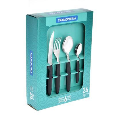 871-517 Tramontina Ipanema Набор столовых приборов 24пр, черная ручка 23398/072