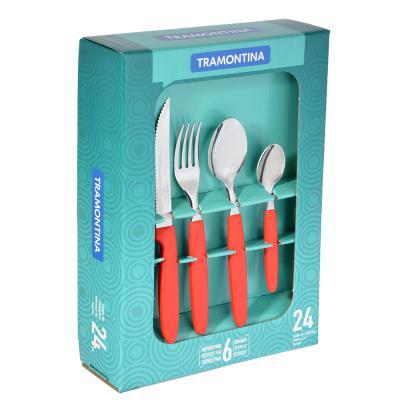 871-519 Tramontina Ipanema Набор столовых приборов 24пр, красная ручка, 23398/772