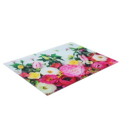 853-204 VETTA Цветы Доска разделочная стеклянная, 30х40х0,4см