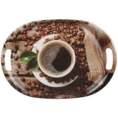 862-406 VETTA Аромат кофе Поднос овальный, пластик, 38,5х27х3см, 2 дизайна