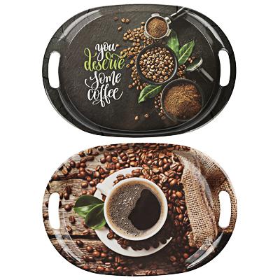 862-406 VETTA Аромат кофе Поднос овальный, пластик, 38,5х27х3см