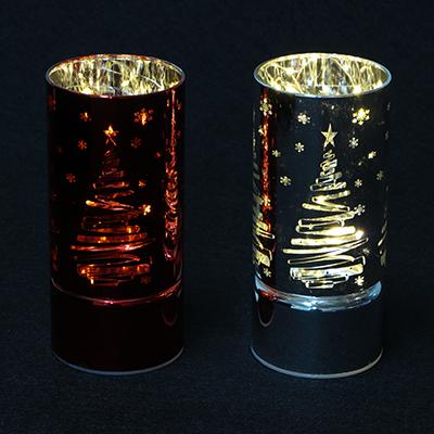 544-029 Светильник светодиодный Елка СНОУБУМ 2хАА,без батареек, 15х7см,стекло,2 цвета