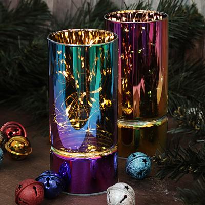 544-031 Светильник LED с гирляндой, 15х7 см, стекло, 2хАА, без батареек, 2 цвета, арт2