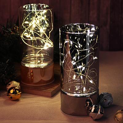 544-032 Светильник LED с гирляндой, 15х7 см, стекло, 2хАА, без батареек, арт3