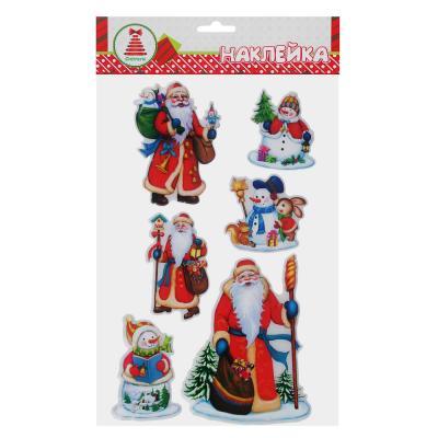 336-350 Новогодние наклейки СНОУ БУМ ПВХ 3D, 21,5х36 см, глиттер, 3 дизайна