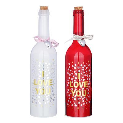 544-036 Светильник LED в форме бутылки с сердцами, стекло, 3хААА, без батареек, 7,3х29 см, 2 цвета