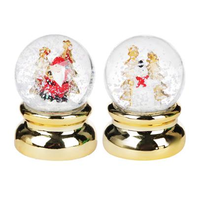 """396-545 Шар снежный СНОУ БУМ """"Новогодний""""  6,3 см, полистоун, 2 дизайна на золоте"""