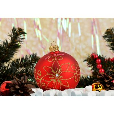368-060 Елочный шар ручной работы СНОУ БУМ с орнаментом, 85 мм, стекло, 4 дизайна