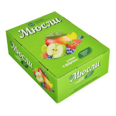 015-098 Батончик Effort Мюсли, 40г, 4 вида: малина / черника / земляника / яблоко