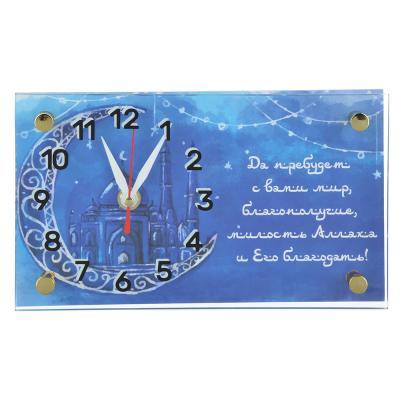 500-002 Часы настольные прямоугольной формы, стекло, 13х23см, 2 дизайна , МТ