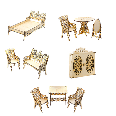 278-102 ТЕРЕМОК Мебель для кукол столик/столовая/кровать/шкаф/гостиная, фанера, 19х14х3см, 5 дизайнов