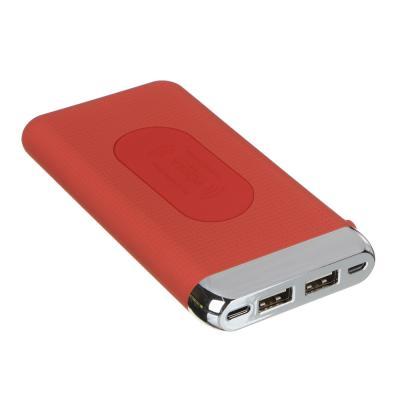 Аккумулятор мобильный беспроводной 8000 мАч, 2 USB, 2А, прорезиненный, пластик, 3 цвета-3