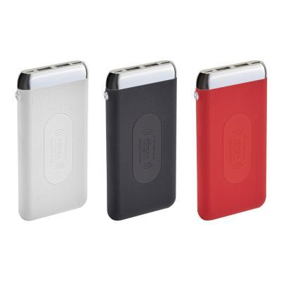 Аккумулятор мобильный беспроводной 8000 мАч, 2 USB, 2А, прорезиненный, пластик, 3 цвета-4