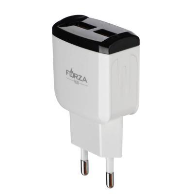916-217 Зарядное устройство FORZA Палитра, USB, 220В, 2USB, 2А, пластик, цветное