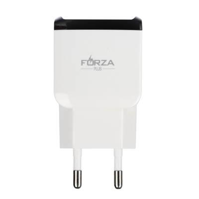 916-217 Устройство зарядное FORZA 220В, 2 USB, 2А, пластик, цветное