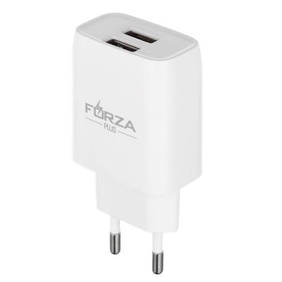 916-218 Устройство зарядное FORZA 220В, 2 USB, 2А, пластик, белое