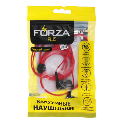 410-018 Наушники вакуумные FORZA 120см, с микрофоном, пластик, 3 цвета