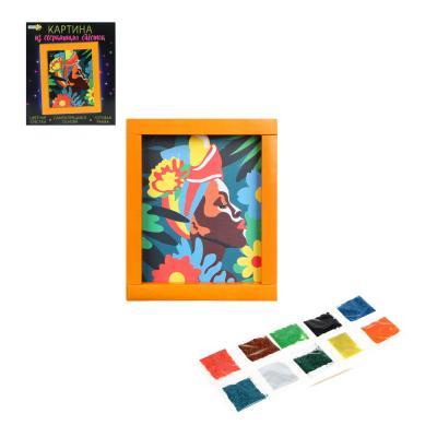 281-177 ХОББИХИТ Картина сверкающими блестками, картон, песок, 23х20х2,5см, 4-5 дизайнов