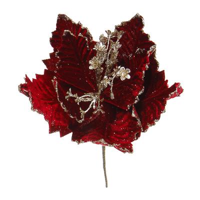 353-067 Цветок декоративный СНОУ БУМ   текстиль, 33х42 см, красный