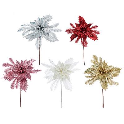 353-069 Цветок декоративный СНОУ БУМ  пластик, глиттер, 13 см, 5 цветов