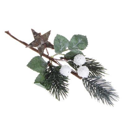 353-074 Ветка декоративная еловая с белыми ягодами СНОУ БУМ 30 см, пластик, дерево, 3 дизайна
