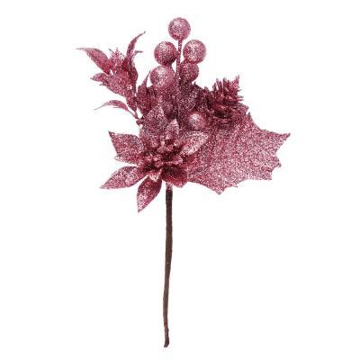 353-077 Ветка декоративная еловая с цветком СНОУ БУМ 15 см, пластик, 5 цветов