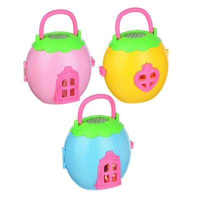 278-103 ИГРОЛЕНД Дом-яблоко для куклы с мебелью и фигуркой, пластик, 20х13,5х18см, 3 дизайна