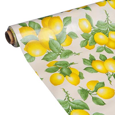 """423-055 Скатерть в рулоне 1,37х20 м """"Лимоны"""", ПВХ на нетканой основе"""