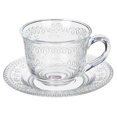 """806-295 Чайная пара (кружка 200мл с блюдцем), стекло, """"Ажур"""""""