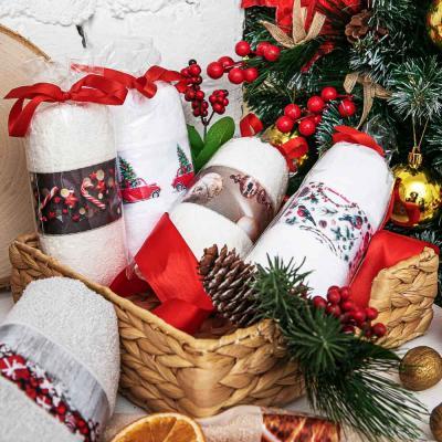 """420-014 Полотенце подарочное PROVANCE, """"Новогоднее"""", 100% хлопок, 30х50см, 350гр/м, 6 дизайнов"""