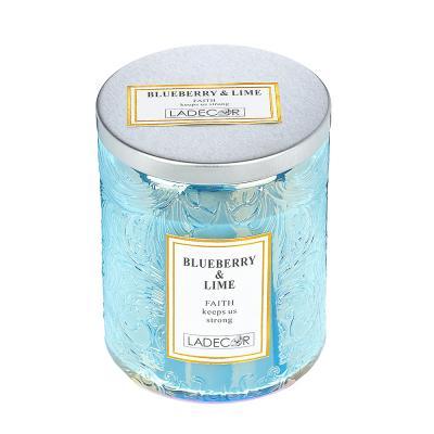 508-614 LA DECOR Свеча ароматизированная в стекле, с декором, 6 видов,7x8,7см