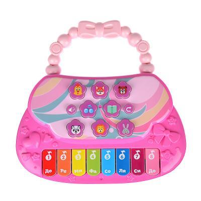 272-677 ИГРОЛЕНД Сумочка-пианино музыкальная, свет, звук, 3АА, пластик, 18х17,5х3см, 3 цвета
