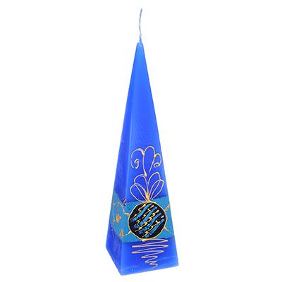396-592 Свеча парафиновая пирамида, синяя, с ручной росписью, 23см