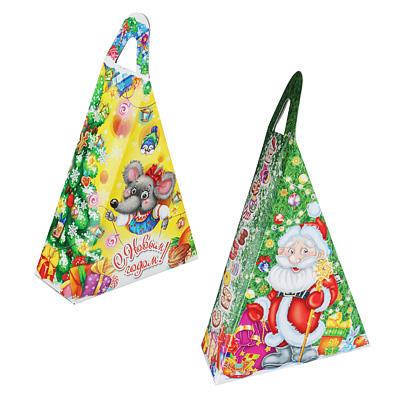 """369-417 Коробка для подарков """"Новогодний треугольник"""", картон 320г, 150х65х205мм, до 350г"""