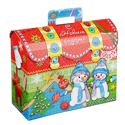 "369-421 Коробка для подарков ""Вязаный сундучок"", МГК, 250х90х195мм, до 1000г"