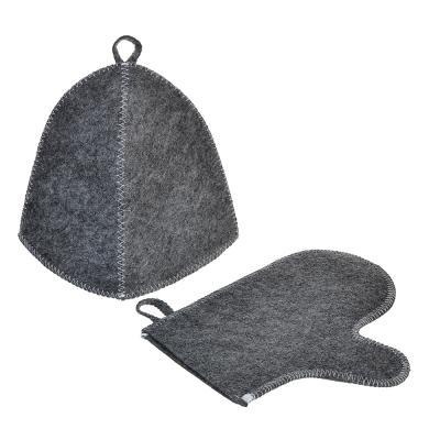 364-207 Набор банный без вышивки, 2 пр: шапка, варежка, 30% шерсть,70% полиэфир, 2 цвета